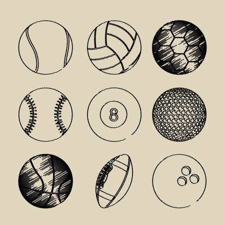 golf equipment: sports balls over beige background vector illustration