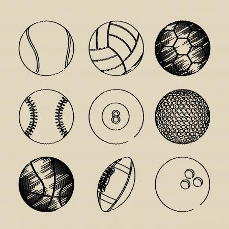 football games: sports balls over beige background vector illustration
