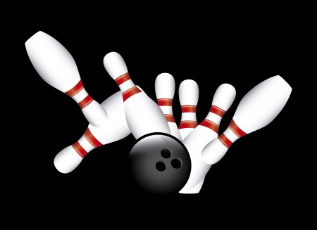strike bowling over black background vector illustration  Vector