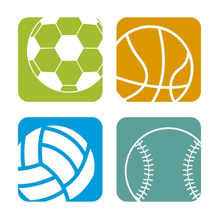 ballons de sport sur fond blanc illustration vectorielle