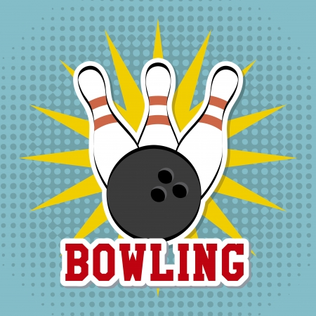 distraction: bowling design over dotted background vector illustration