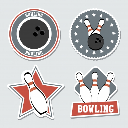 drawing pin: bowling labels over blue background vector illustration  Illustration