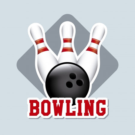 bowling label over blue background vector illustration  Vector