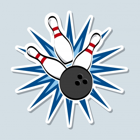 drawing pin: bowling design over blue background vector illustration