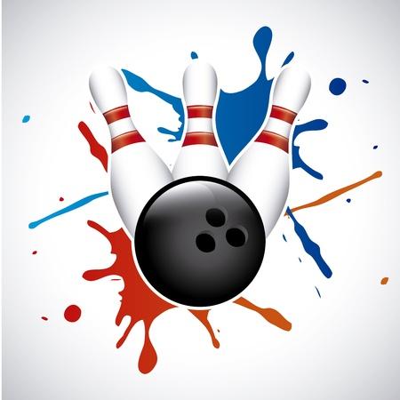 bowling splash op grijze achtergrond vector illustratie