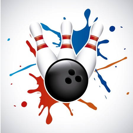 drawing pins: bowling splash over gray background vector illustration  Illustration