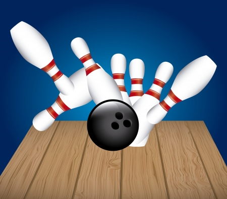 bowling alley: bowling alley over blue background vector illustration