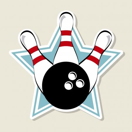 quille de bowling: �tiquette de bowling sur �toiles vecteur de fond