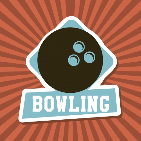 bowling label over rays background vector illustration  Vector