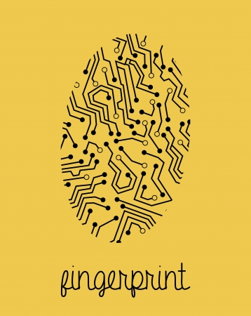 fingerprint design over yellow background vector illustration Vector