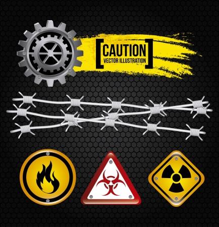 vigilance: caution design over black background
