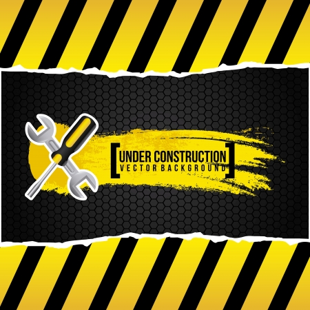 under construction design over black background  Vector