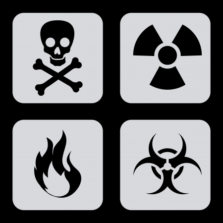 danger icons over black background vector illustration