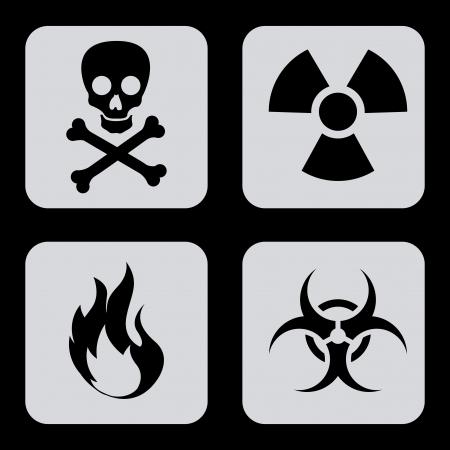 plutonium: danger icons over black background vector illustration