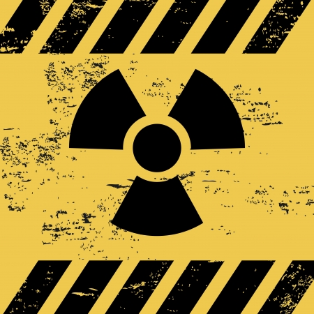 radiation signal over yellow background vector illustration