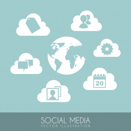 social media icons over blue background vector illustration  Vector