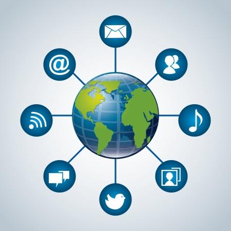 conection: mundo de la comunicaci�n sobre fondo azul, ilustraci�n vectorial