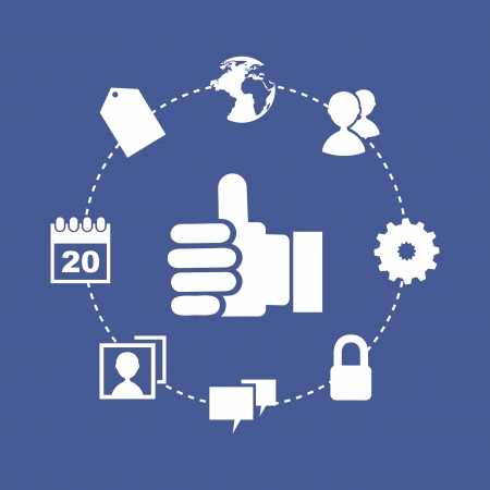 social media icons over blue background vector illustration  Vector