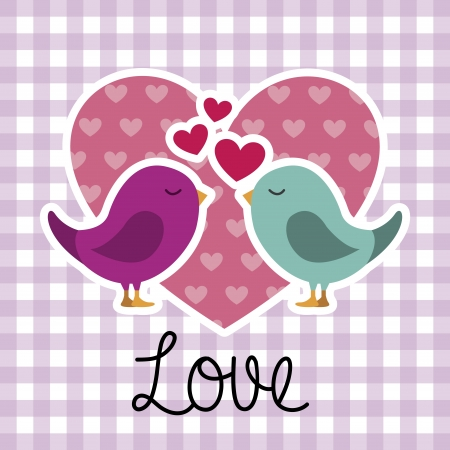 love birds: love design over grid background vector illustration