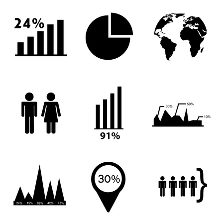 determinants: estatistics icons over white background vector illustration