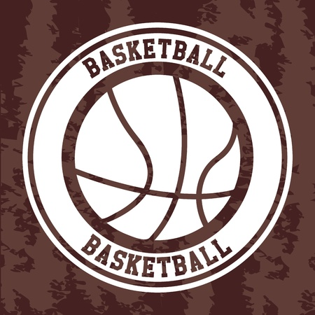 basketball label over vintage background vector illustration  Vector