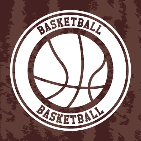 ballon basketball: �tiquette de basket-ball au cours mill�sime vecteur de fond Illustration