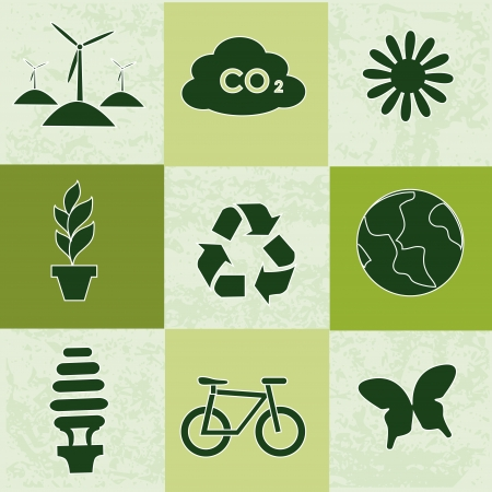 ecology icons over green  background vector illustration  Vector