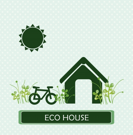 eco house over dotted background vector illustration  Vector