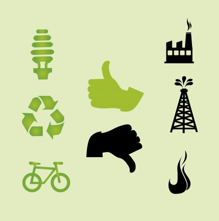 eco icons over green background vecor illustration  Vector