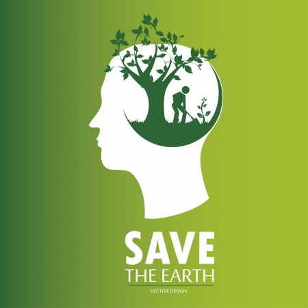 tree planting: save th earth over creen background vector illustration