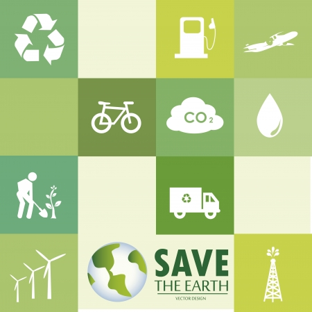 save the earth icons over green background vector illustration  Vector