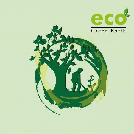 plantando arbol: eco, tierra verde sobre fondo verde vector illutration