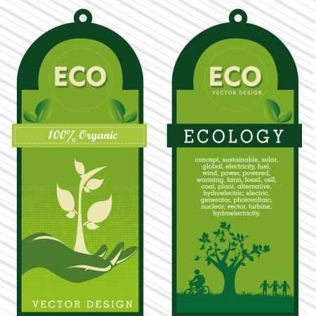 eco labels over grunge background vector illustration  Vector