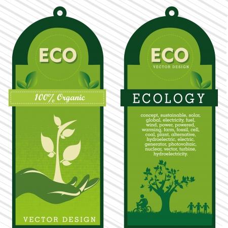 eco labels over grunge background vector illustration