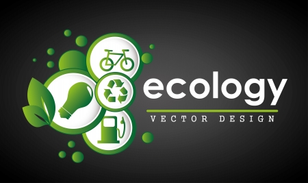 ecology label over black background vector illustration  Vector