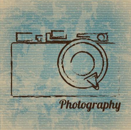 fotografi: macchina fotografica disegnata a mano libera su sfondo vintage illustrazione vettoriale Vettoriali