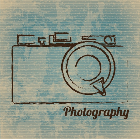 vintage camera: photographic camera drawn freehand over vintage background vector illustration
