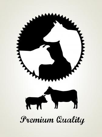 vaca: etiqueta de carne sobre fondo gris ilustraci�n vectorial