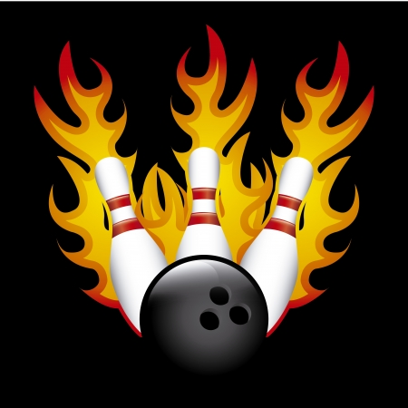bowling  burn over black background vector illustration Иллюстрация
