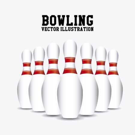 pins bowling over white background vector illustration  Vector