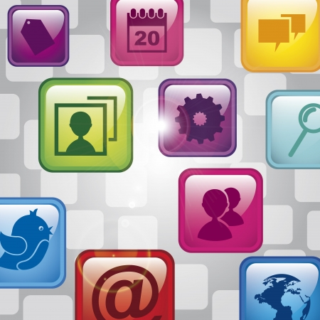 social media icons over gray background vector illustration  Illustration