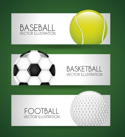sports labels over green background vector illustration Vector
