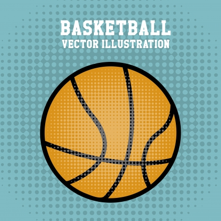 balon baloncesto: baloncesto sobre fondo punteado ilustración vectorial
