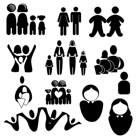 family silhouettes over white background vector illustration