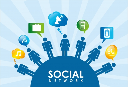 blue network: social network over blue background vector illustration