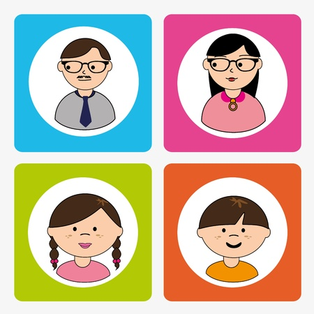 people icons over white background vector illustration  Vector
