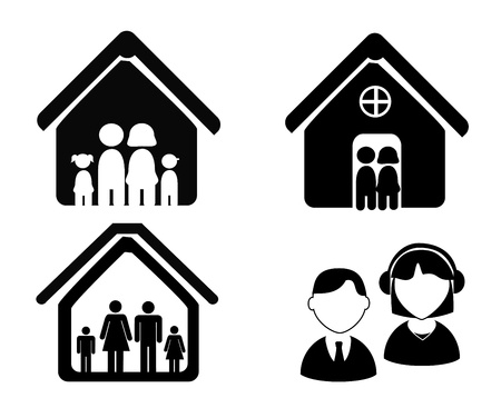 home group: family home over white background vector illustration