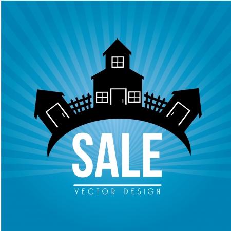 huis te koop ontwerp over blauwe achtergrond vector illustratie