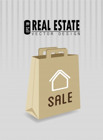 real estate bag over lines gray background vector illustration Stock Vector - 20500240