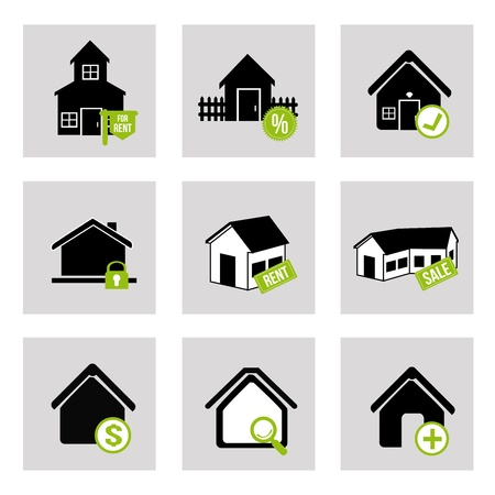 white house: house bussines  icons over  white background vector illustration  Illustration